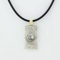 gemma baker embossed knitted keshi pendant