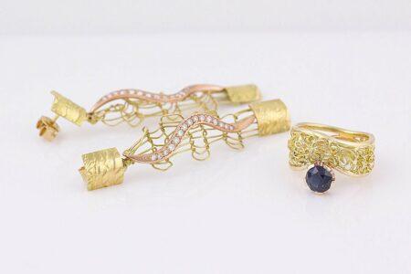 Gemma Baker Intrinsic Diamond Earings And Sapphire Ring