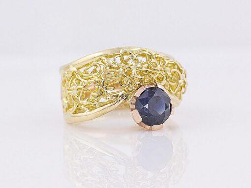 Gemma Baker   Intrinsic Sapphire Knitted Ring Fine Art