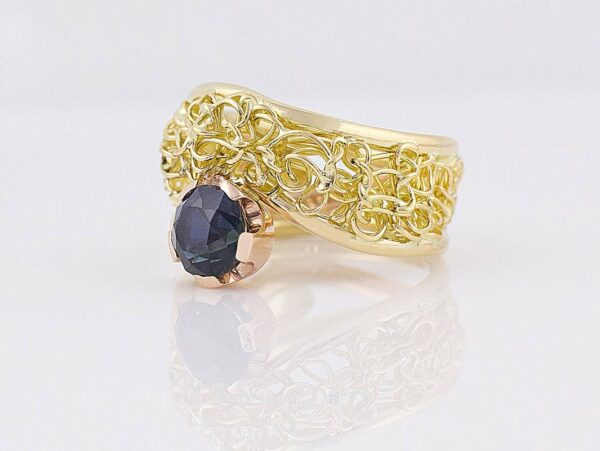 Gemma Baker Intrinsic Rubyvale Sapphire Knitted Ring Side