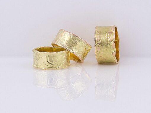 gemma baker molten embossed gold rings gba