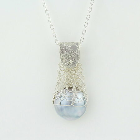 Gemma Baker Silver Embossed Knitted Mabe Pendant Gba313