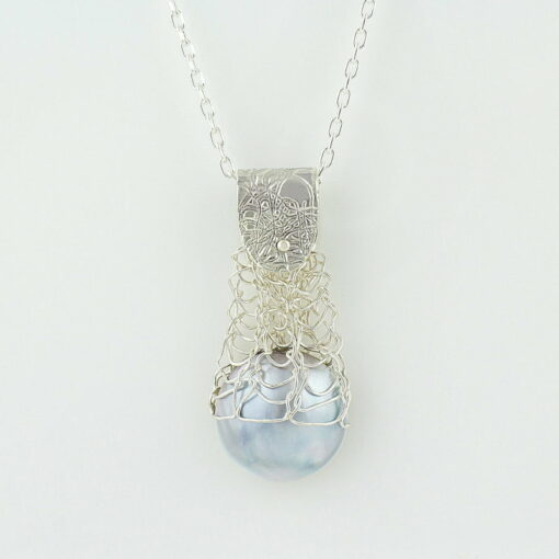 gemma baker silver embossed knitted mabe pendant gba
