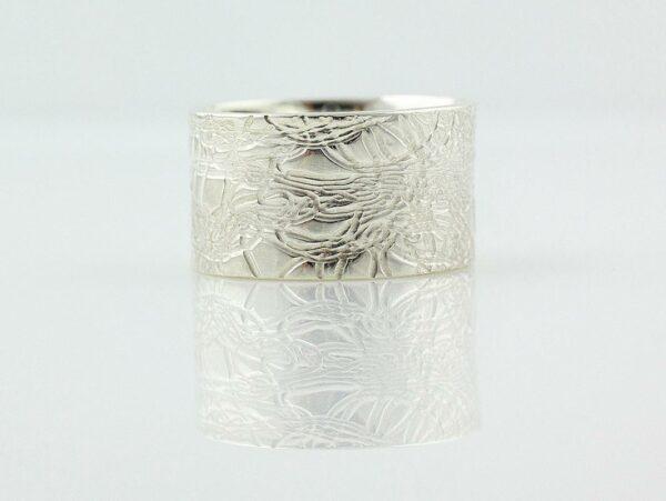 Gemma Baker Silver Embossed Ring 12Mm Gba321