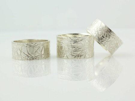 Gemma Baker Silver Embossed Rings X3