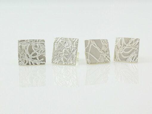 gemma baker silver embossed stud earings gba x pairs