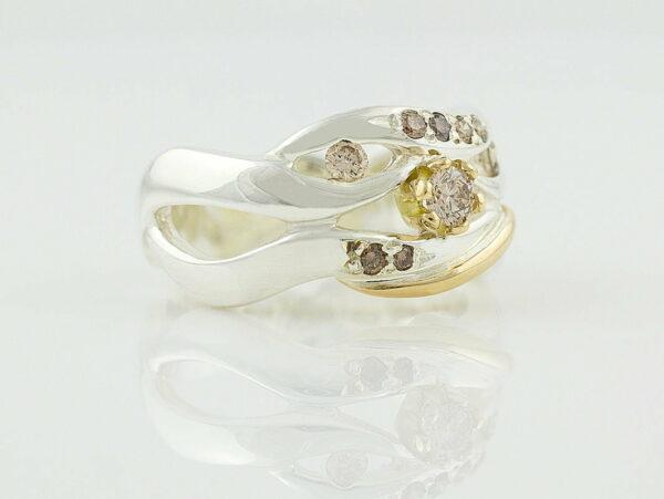 Gemma Baker Wave Argyle Diamond Ring Side Gba318