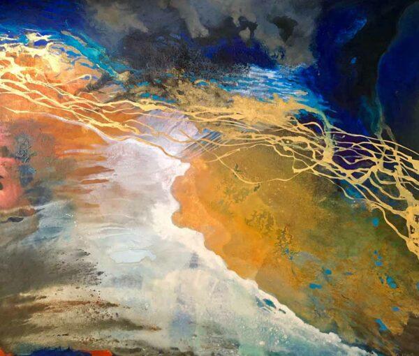 Astrid Dahl Tracks Across The Salt Lake Painting