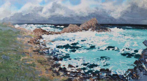 Joe Webster Breakers In The Squalls Sugarloaf Rock Painting