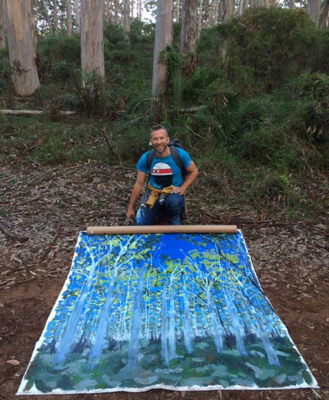 Joe Webster Painting On Location At Boranup Forest 2
