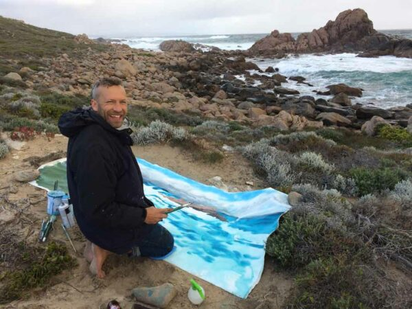 Joe Webster Painting At Sugarloaf Rock On Location
