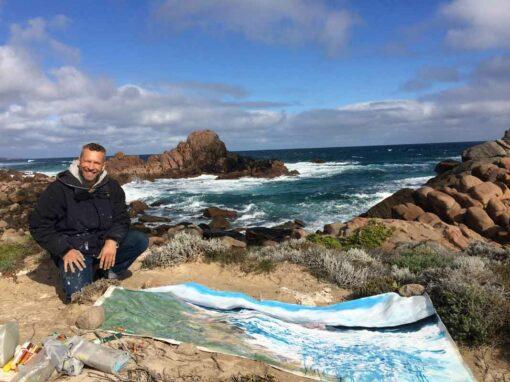 Joe Webster Painting On Location Sugarloaf Rock