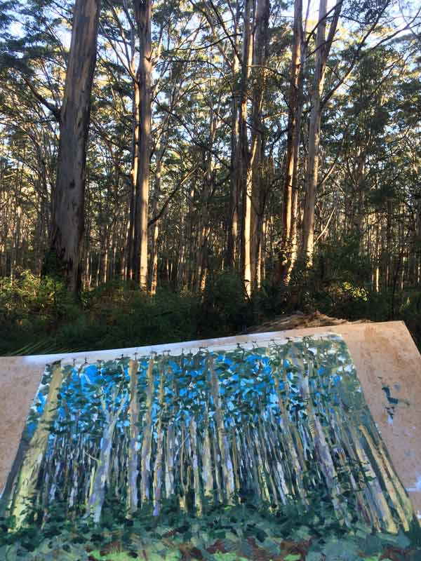Joe Webster Painting On Location At Boranup Forest