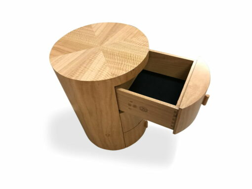Groovy Round Bedside Cabinet Drawer Open