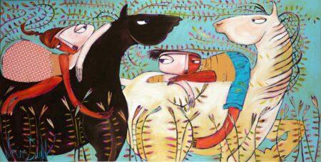 Janine Daddo Chance Meeting On Horseback Painting