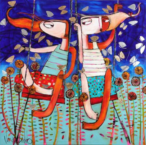 Janine Daddo Thru The Blooms And Butterflies Painting