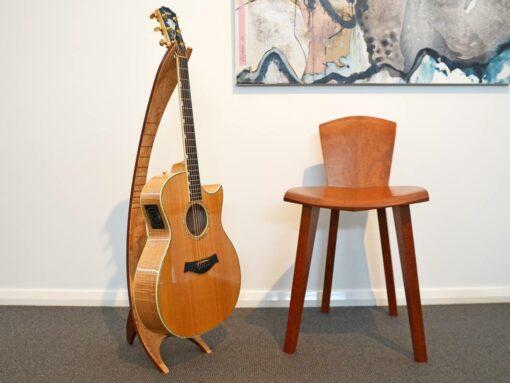 Get Uked Guitar Stand Quilted Marri Jarrah Fret Inlay Jarrah Back Web