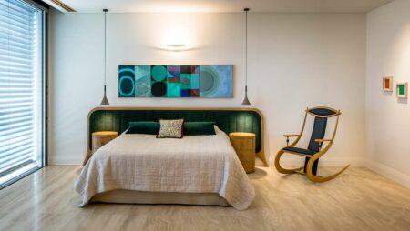 Grandeur Bed Head With Sunburst Round Bedside Cabinets