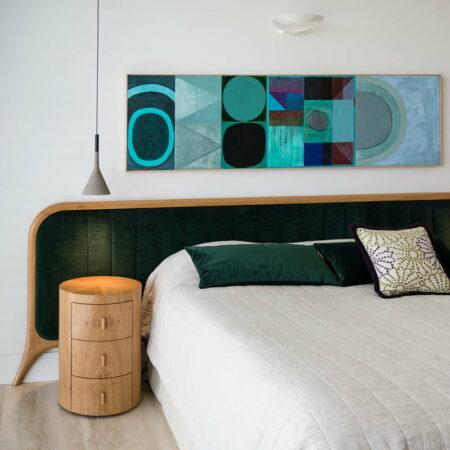 Sunburst Round Bedside Cabinet With Grandeur Bed Head
