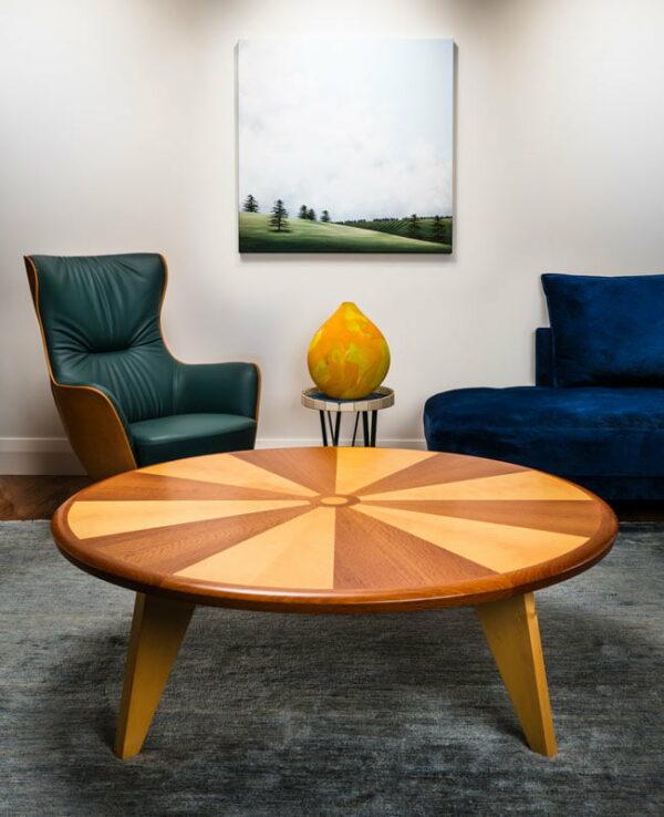 Sunburst Round Coffee Table In Lounge Room
