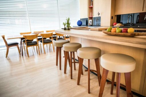Tex Huon Pine Dining Table And Round Top Stools In Home