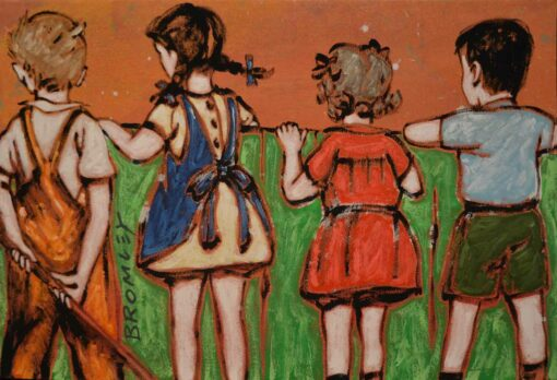 David Bromley Childrens Series Ii Over The Fence Painting