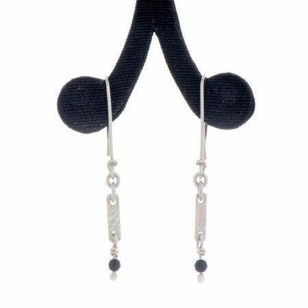 Emma Cotton Long Dangle Earings Black Agate