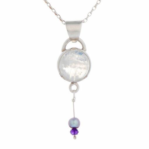 Emma Cotton Moon Drops Pendant Moonstone Amethyst