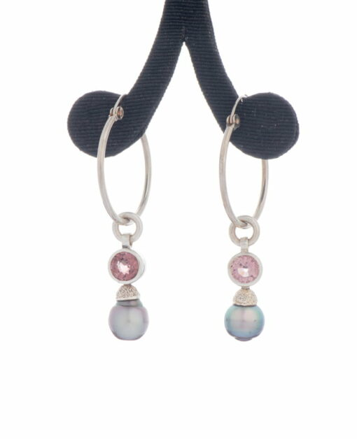Jane Liddon Earings Hoop Pink Tourmaline Round Pearl Side