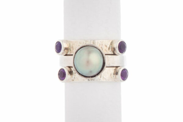 Jane Liddon Triple Ring Round Mabe Purple Tourmaline
