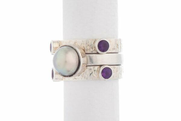 Jane Liddon Triple Ring Round Mabe Purple Tourmaline Ide