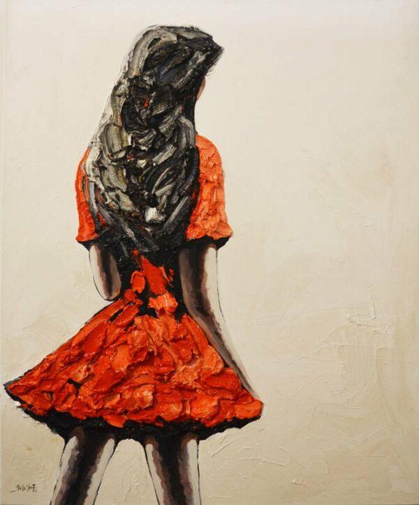 Palla Jeroff Red Dress Girl Painting