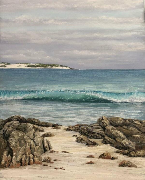 Ann Steer Breaking Swell Ingidup Pastel Painting