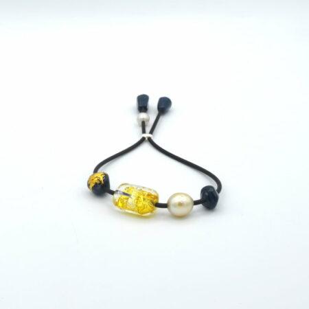 Evelyn Henschke Yellow Navy Bead Pearl Bracelet 1