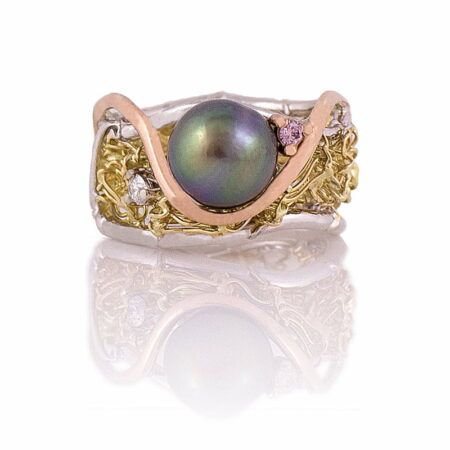 Gemma Baker Knitted Pearl Pink Diamond Ring