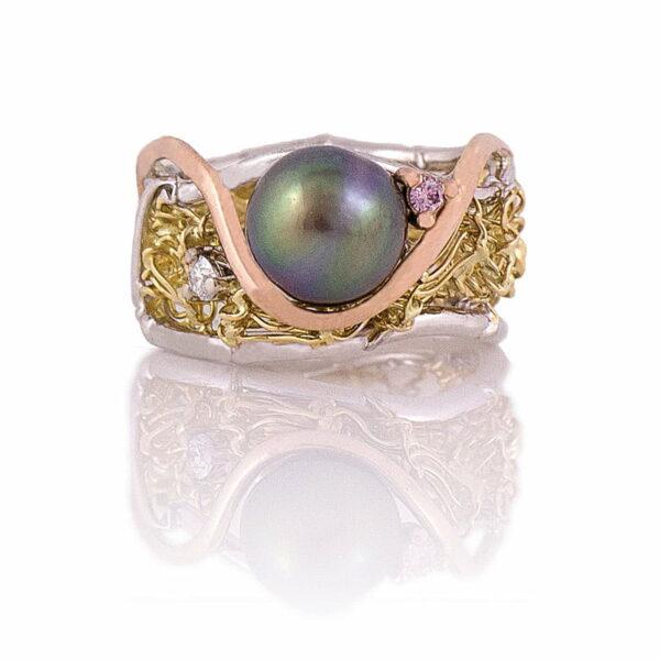 Gemma Baker Knitted Pearl Pink Diamond Ring