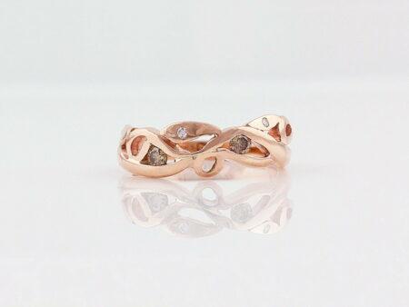 Gemma Baker Rose Gold Diamond Vine Ring Front