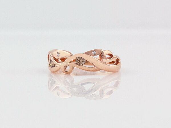 Gemma Baker Rose Gold Diamond Vine Ring Side