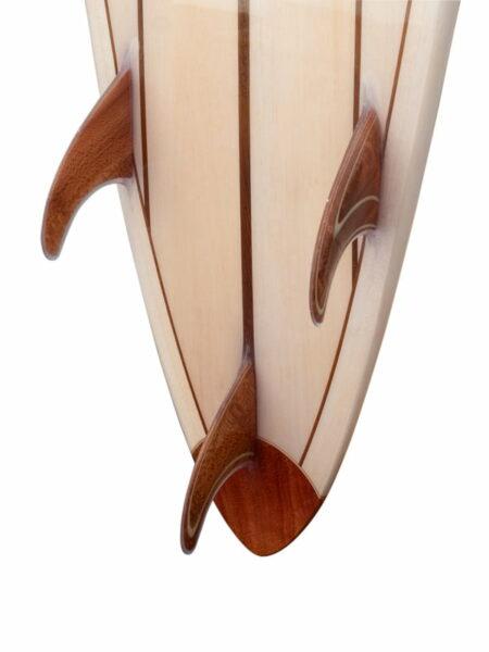 10ft Balsa Hollow Gun Surfboard Fins Detail Standing