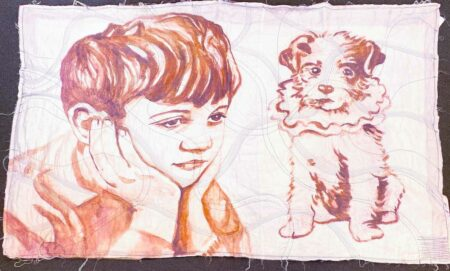 David Bromley Boy And Dog Quilt Front
