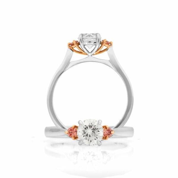 Desert Rose Classic Trilogy Argyle Pink Diamond Ring 2 Angles