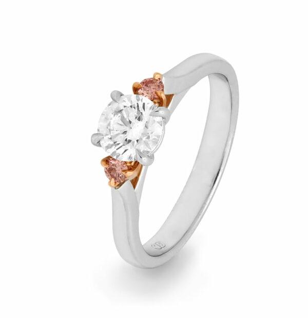 Desert Rose Classic Trilogy Argyle Pink Diamond Ring