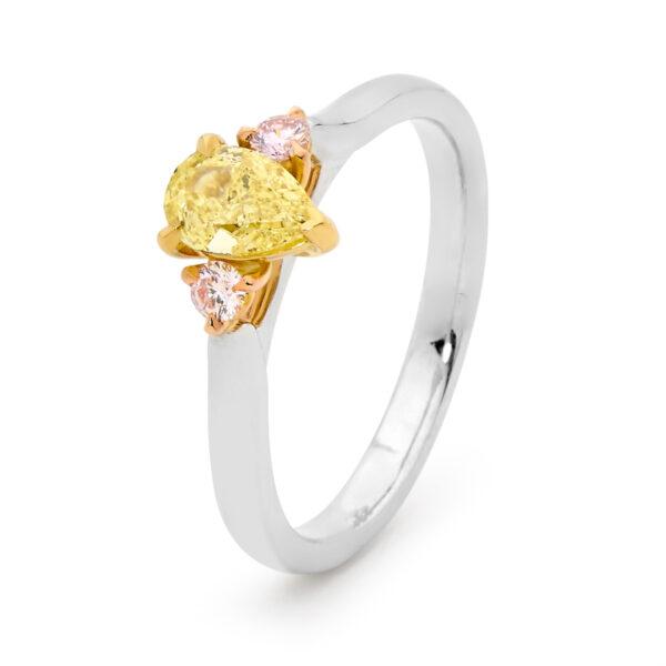 Desert Rose Jewellery Argyle Yellow Pink Diamond Trilogy Ring Edjr023