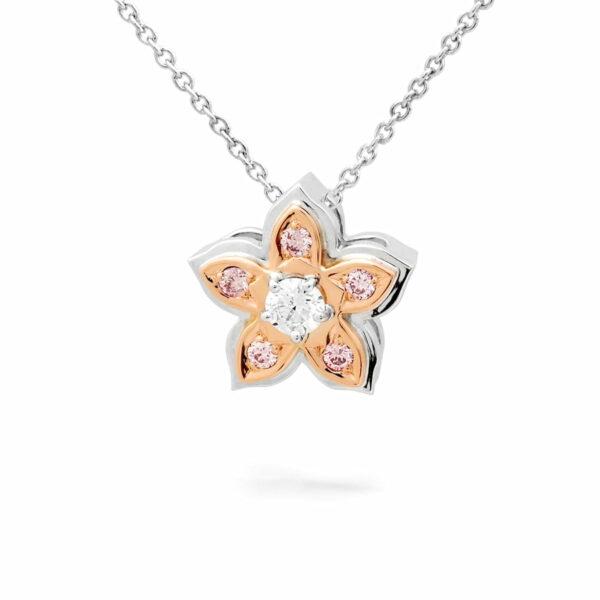 Desert Rose Jewellery Pink Diamond Flower Pendant Edjp021