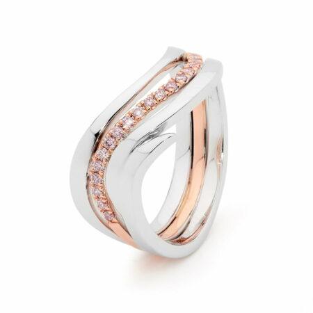 Desert Rose Jewellery Pink Diamond Swirl Dress Ring Edjr017