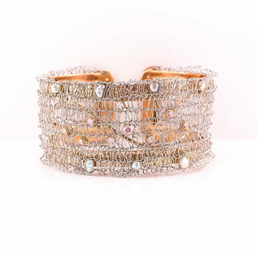 Gemma Baker Pink Diamond And Abrolhos Keishi Pearl Knitted Cuff Bangle