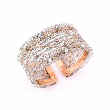 Gemma Baker Pink Diamond And Abrolhos Keishi Pearl Knitted Cuff Bangle Top