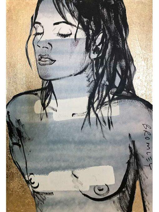 David Bromley Painting Belinda On Gold