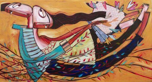 Janine Daddo Golden Case Of Dreams Original Painting