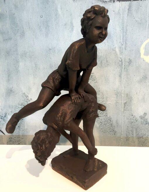 David Bromley Leapfrog Boy Over Boy Bronze Sculpture 3